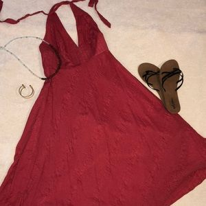 Jcrew Coral colored Linen halter dress